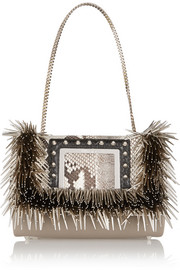 Jimmy Choo Alba embellished elaphe-trimmed leather shoulder bag