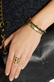 Isabel Marant Set of two leather and gold-tone bracelets