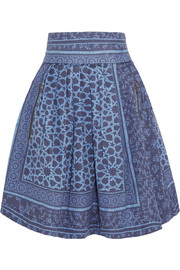 Jennah pleated printed denim skirt