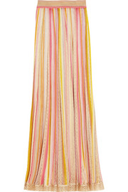 Striped crochet-knit maxi skirt