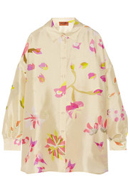 Oversized floral-print silk shirt