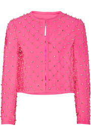Embellished quilted crepe jacket