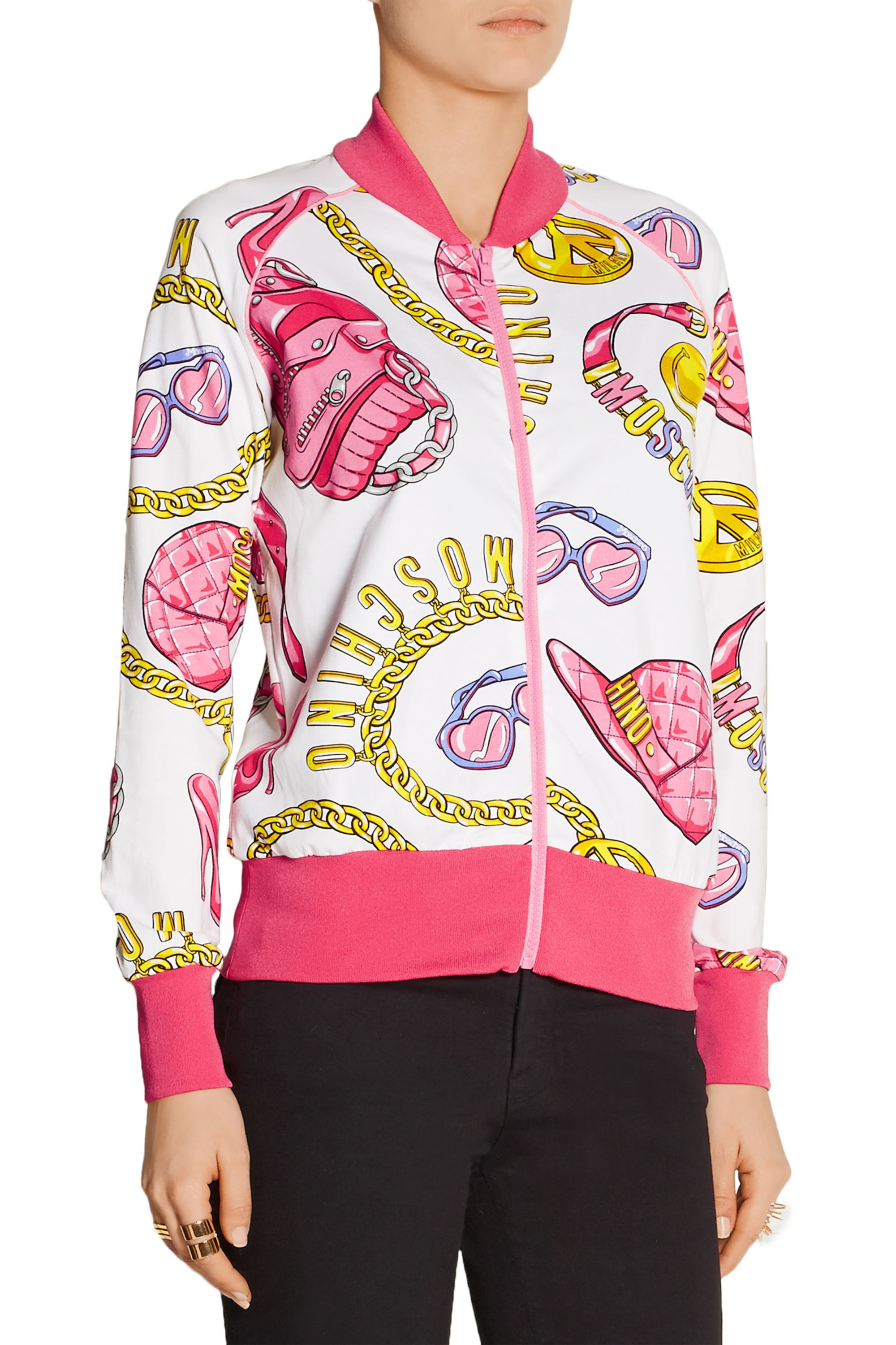 Moschino Printed stretch cotton-jersey bomber jacket