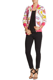 Printed stretch cotton-jersey bomber jacket
