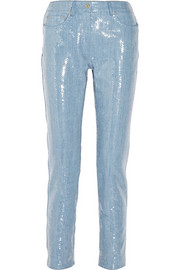 Sequined denim straight-leg jeans