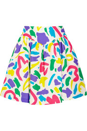 Printed cotton-jacquard mini skirt