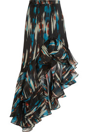Ruffled printed silk-organza maxi skirt