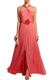 Embellished pleated silk-chiffon gown
