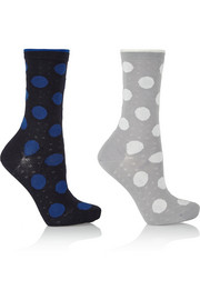 Set of two filet dot stretch-cotton socks