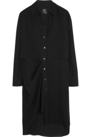 Draped silk-georgette shirt dress