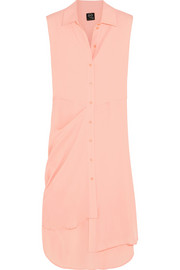 McQ Alexander McQueen Draped silk-chiffon shirt dress