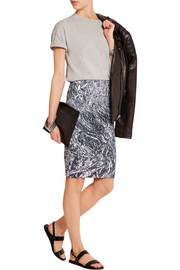 Printed stretch-cotton jersey pencil skirt