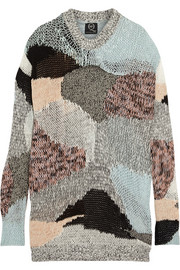 Patchwork open-knit cotton and cotton-blend sweater