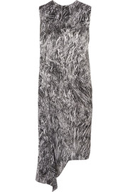 McQ Alexander McQueen Asymmetric printed silk dress