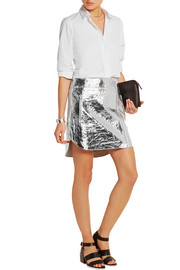 Metallic crinkled-leather mini skirt