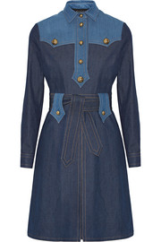 Two-tone denim dress