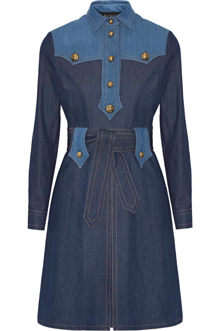 Gucci Two-Tone Denim Dress, Size: 46