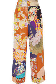 Cropped printed silk crepe de chine wide-leg pants