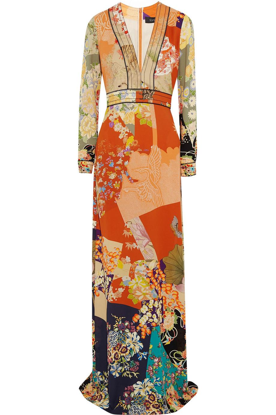 Gucci Printed Silk Crepe De Chine Gown, Size: 40