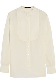 Bib-front cotton-muslin blouse