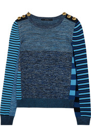 Patchwork wool and cotton-blend sweater