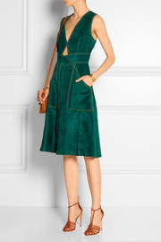 Paneled suede dress