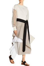 Asymmetric canvas, poplin and satin-voile skirt