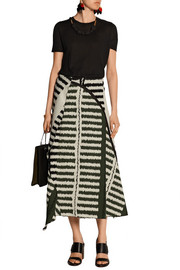 Striped jacquard midi skirt