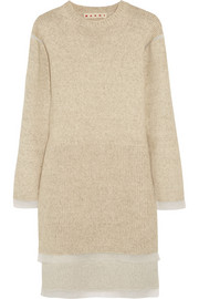 Marni Oversized organza-trimmed knitted sweater