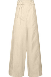 Wrap-effect canvas wide-leg pants