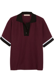 Striped cotton-blend polo shirt