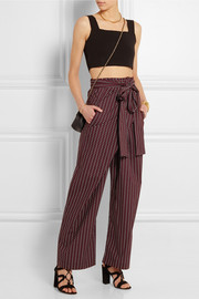 Printed cotton wide-leg wrap pants