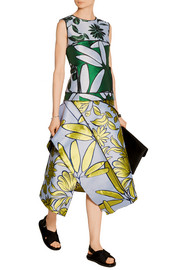 Paneled jacquard midi skirt