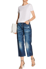 Denim-print high-rise twill boyfriend pants