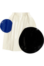 Color-block faux leather midi skirt