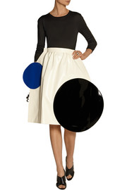 Junya Watanabe Color-block faux leather midi skirt