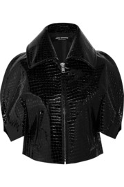 Cropped faux patent-crocodile jacket