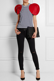 Faux patent leather-trimmed striped jersey T-shirt