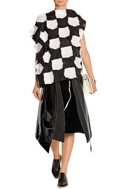 Appliquéd shell and faux patent-leather top