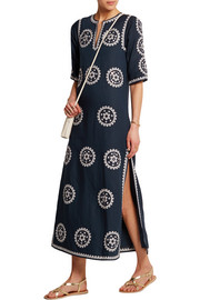Shirley broderie anglaise linen-blend maxi dress