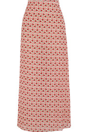 Gemina printed stretch-silk georgette maxi skirt