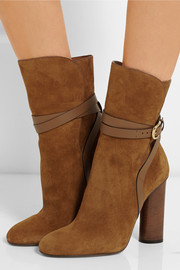 Leather-trimmed suede boots