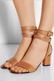 Suede-trimmed leather sandals