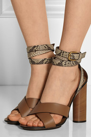 Gucci Python and leather sandals
