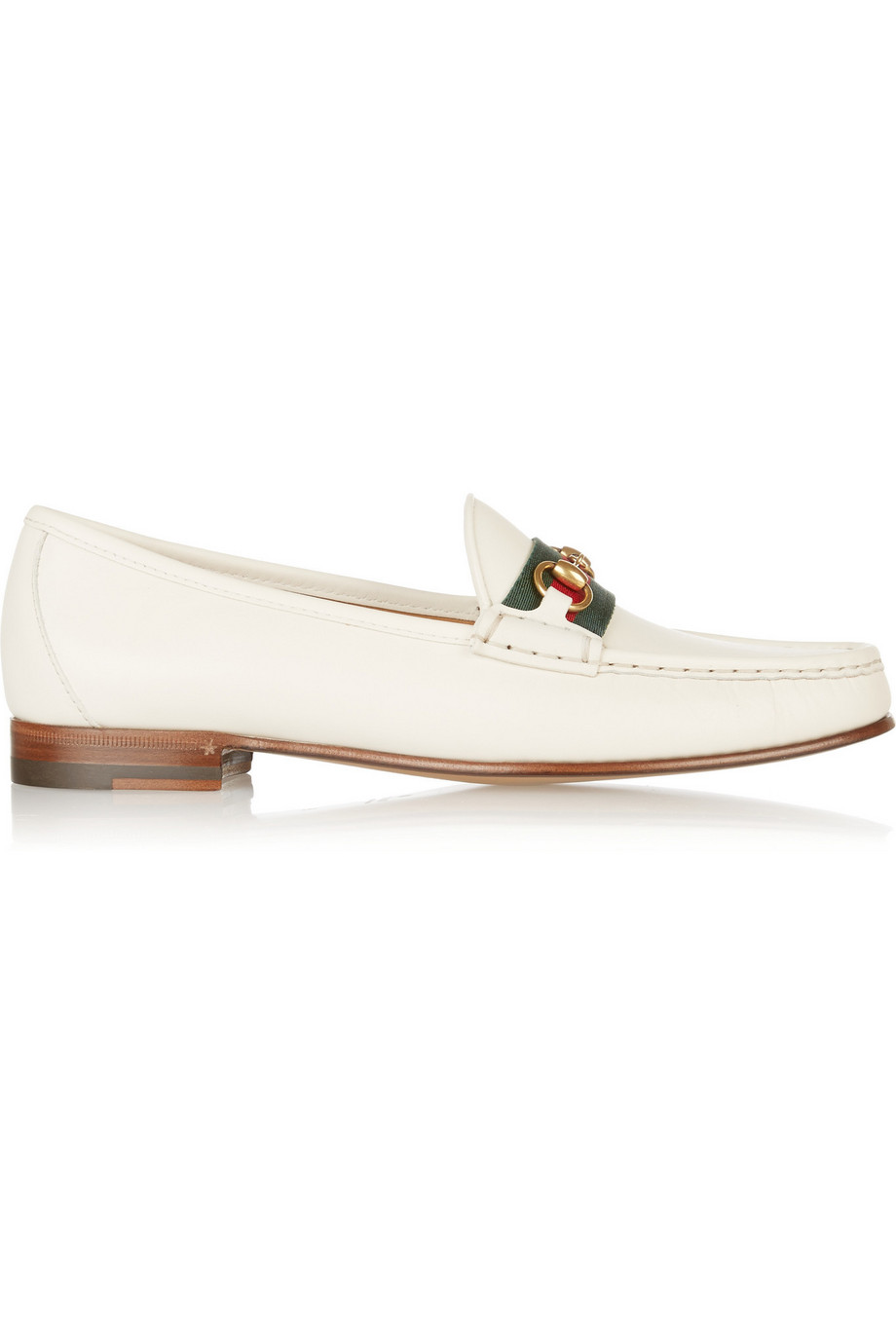 Gucci Horsebit-Detailed Leather Loafers, Off-White, Women's US Size: 5.5, Size: 36