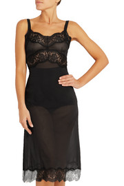Lace-trimmed silk-blend chiffon chemise