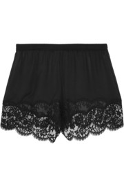 Lace-trimmed silk-blend chiffon shorts