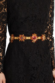 Swarovski crystal-embellished velvet and leather belt