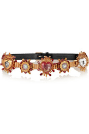Dolce & Gabbana Swarovski crystal-embellished velvet and leather belt