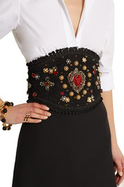 Embellished lace and leather waist belt